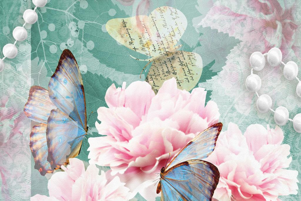 Schmetterlinge, rosa-weiße Rosen und weiße Perlenketten auf hellblauem Hintergrund
